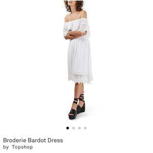 Topshop White Lace Off the Shoulder Dress